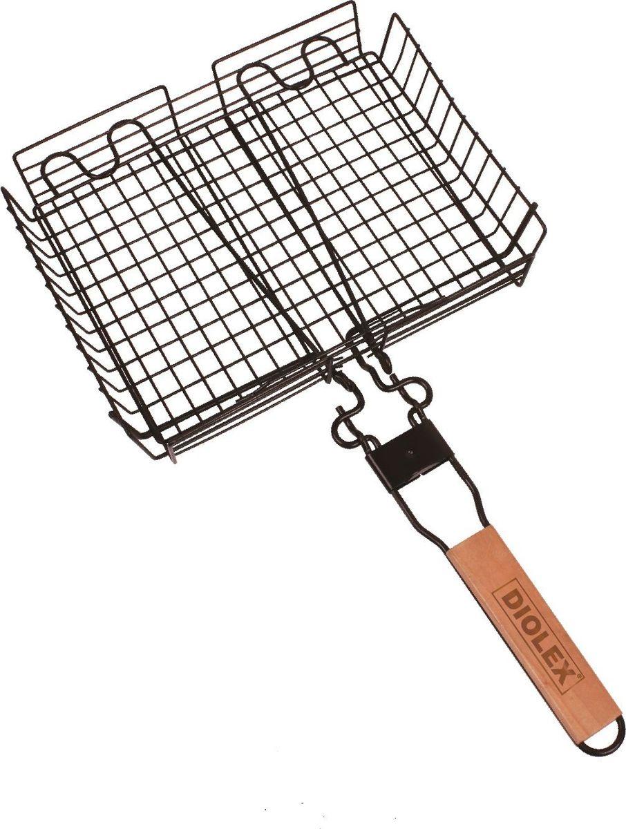Решетка-гриль Diolex, глубокая, со съемной ручкой, с хромированным покрытием, цвет: черный, 32 x 24 см