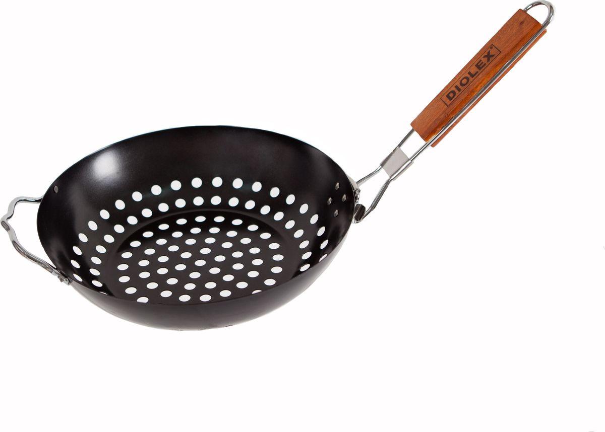 """Cковорода-гриль """"Diolex"""", для барбекю, с антипригарным покрытием, цвет: черный, диаметр 28 см"""