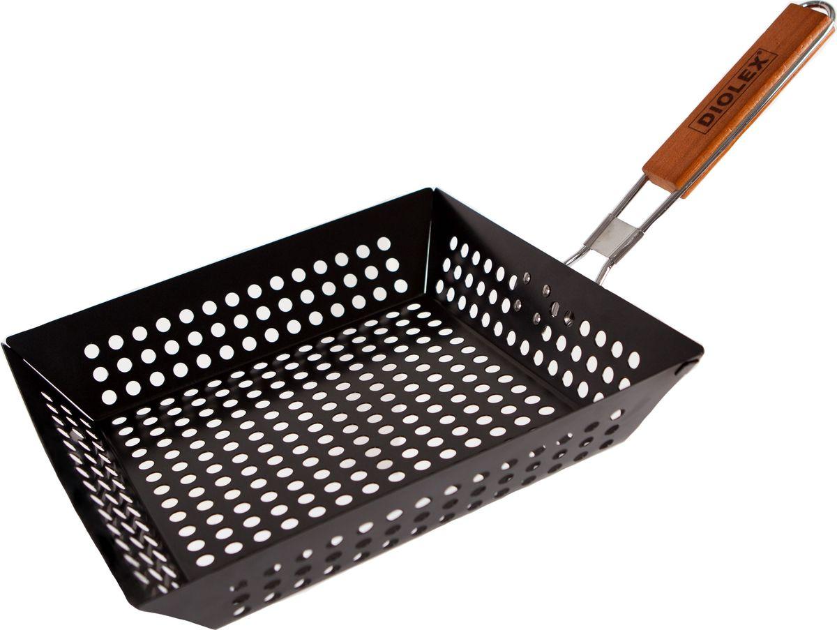 """Cковорода-гриль """"Diolex"""", для барбекю, с антипригарным покрытием, цвет: черный, 29 x 28,5 см"""