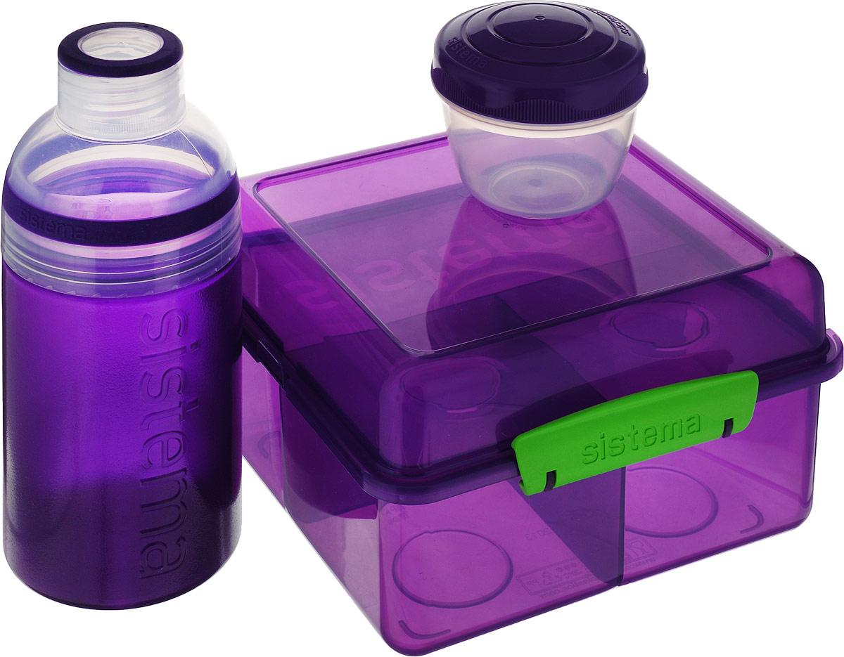 "Набор Sistema ""Lunch"": ланчбокс 2 л, контейнер 150 мл, бутылка 480 мл, цвет: фиолетовый. 41580"