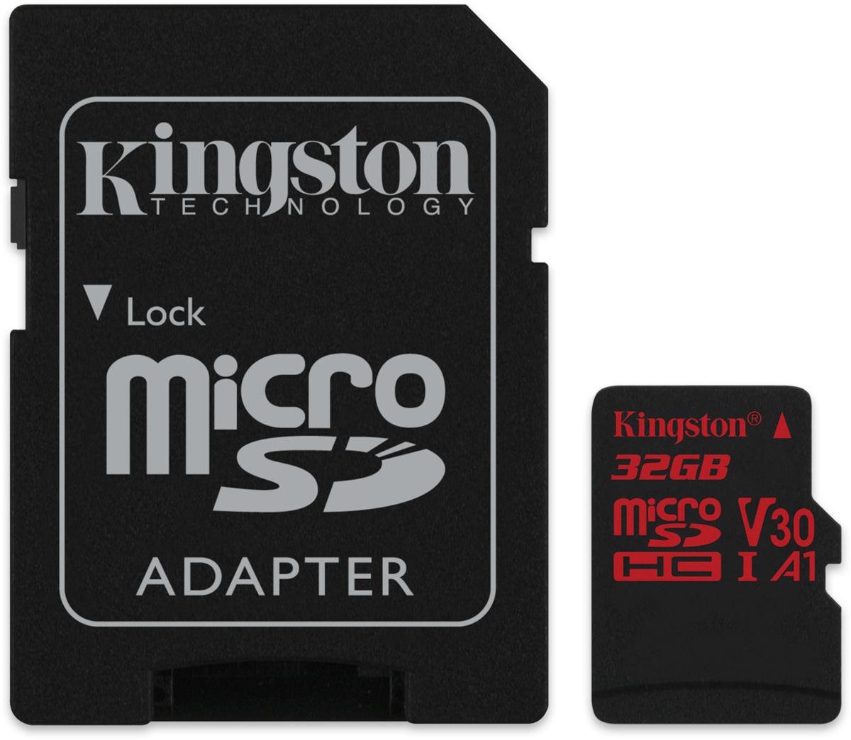 Kingston microSDHC Canvas React UHS-I Class U3 32GB карта памяти с адаптером карта памяти это внешняя или внутренняя