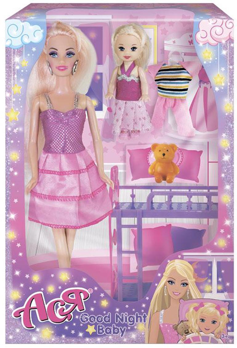 ToysLab Ася Игровой набор с куклой Спокойной ночи малышка 28 см 3509535095Набор с куклой Асей из серии Спокойной ночи, малышка удачно комбинирует игру с куклами-моделями с игрой в дочки-матери. Кукла Ася — украинская сестричка куклы Барби. Милая брюнетка с роскошными длинными волосами и нежным макияжем выглядит очень стильно в своем образе. Розовое комбинированное платье на бретелях выглядят очень празднично. Образ дополняют серебристые колье и серьги, розовые сумочка и туфли. Также в комплекте есть красивая пижамка для малышки и двухэтажная кроватка. Переодевая Асю, комбинируя разные части ее гардероба и аксессуары, девочки почувствуют себя настоящими стилистами! А с маленькой куколкой они смогут поиграть в дочки-матери, переодевая и укладывая ее спать в красивую кроватку. У куклы Аси красивые густые волосы, подвижные руки и сгибаемые в коленях ноги (один щелчок). Высота у Аси 28 см — классическая для подобных кукол-моделей. Одежда куклы изготовлена из приятного яркого текстиля, который выдержит множество переодеваний.