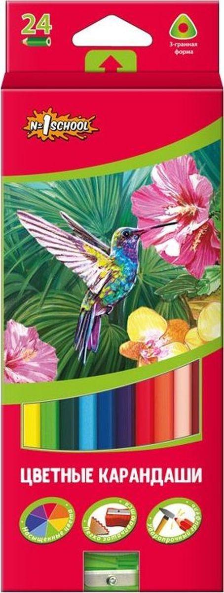 №1 School Набор цветных карандашей ColorPics с точилкой 24 шт 666836
