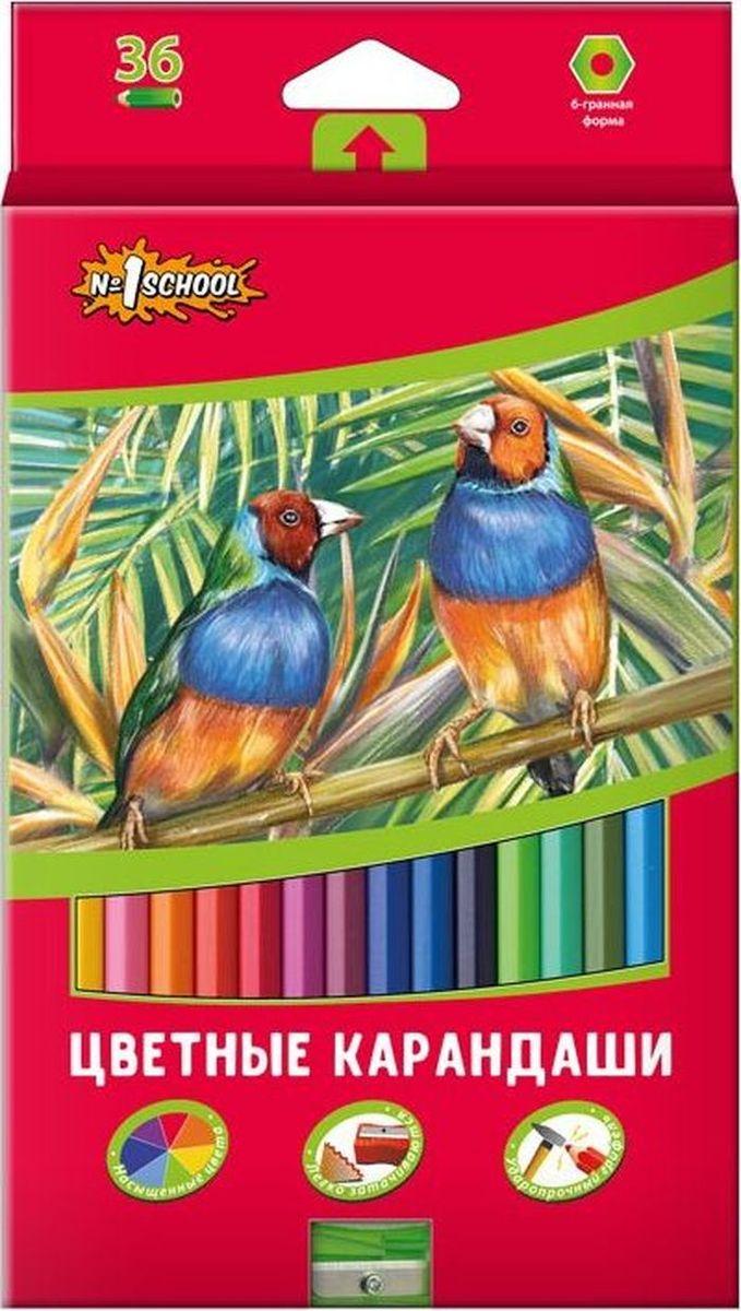 №1 School Набор цветных карандашей ColorPics с точилкой 36 шт