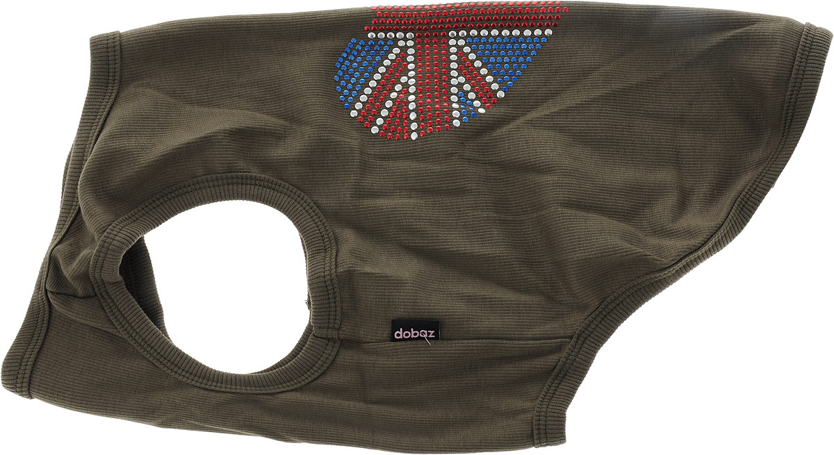 Майка для собак Dobaz Британский флаг, унисекс, цвет: коричневый. ДА028БХХЛ. Размер XXL майка для собак dobaz паровозик унисекс цвет темно зеленый оранжевый да025бххл размер xxl