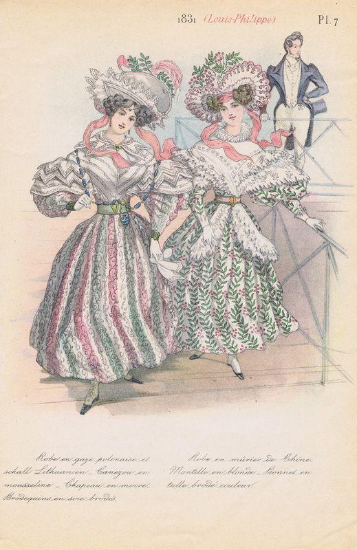 Французская дамская мода 1831 г. Платья из газа и шёлка с цветной вышивкой. Лёгкие платья с плиссированной юбкой и пелериной из органзы. Двухсторонняя литография. Франция, Париж, 1875 год