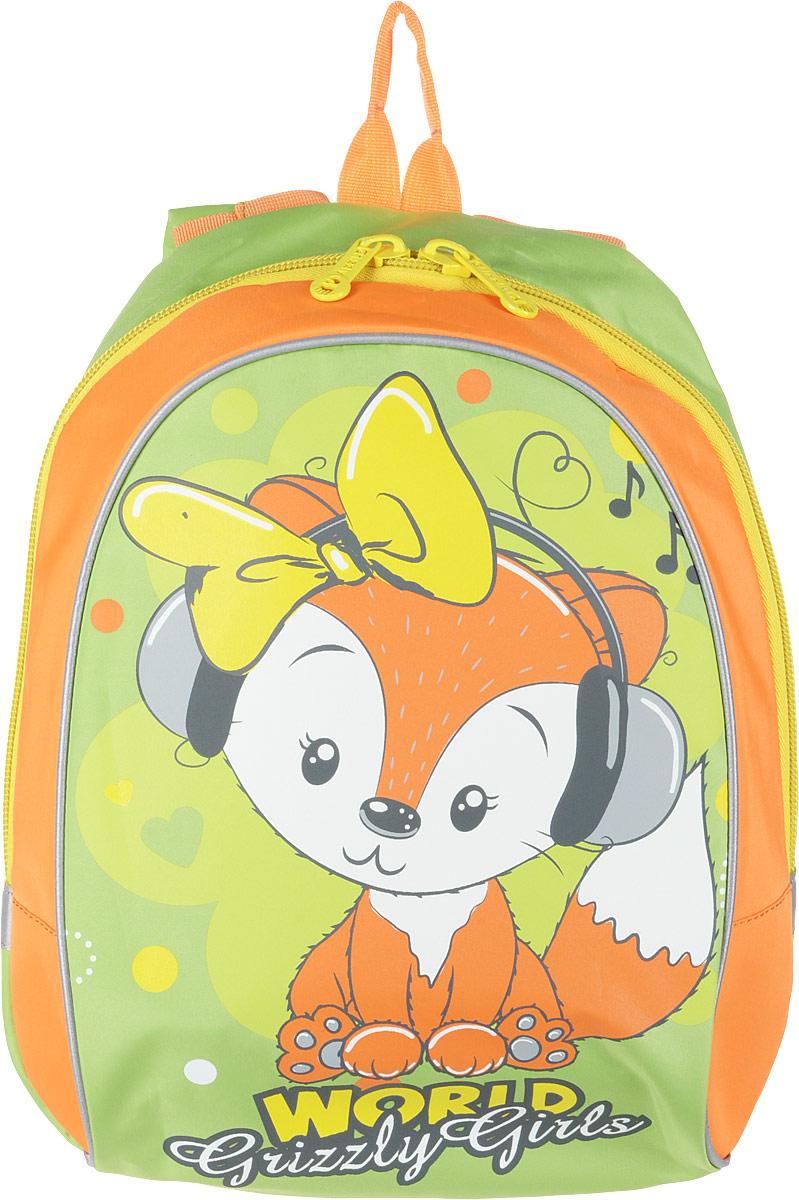 Grizzly Рюкзак детский цвет зеленый оранжевый