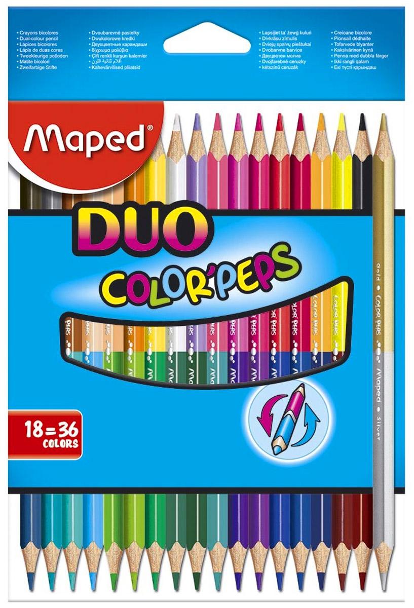 Maped Набор цветных карандашей Color Peps Duo двусторонние 18 шт карандаши bruno visconti набор карандашей цветных disney белоснежка 6 цветов