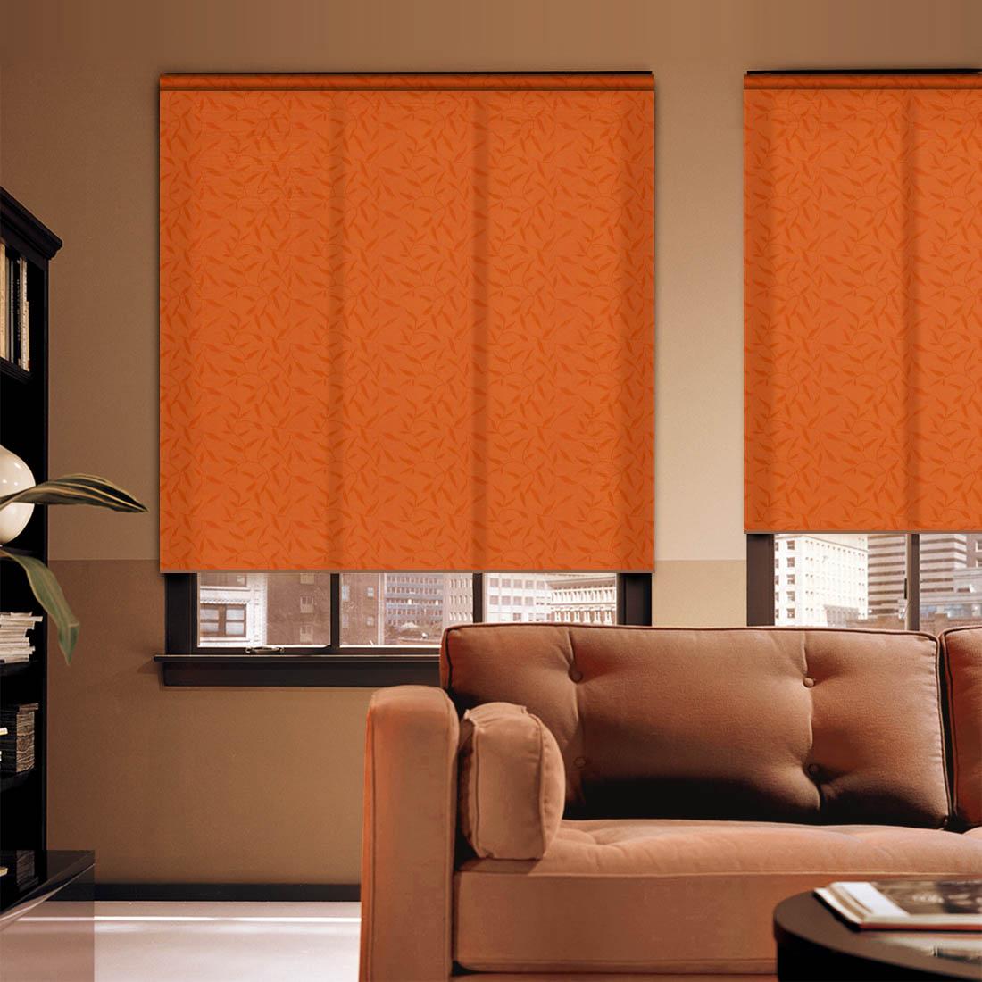 """Штора рулонная Dome """"Design. Флора"""", цвет: оранжевый, высота 172 см, ширина 57 см"""