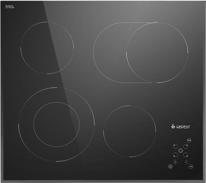 Варочная панель Gefest ЭС В СН 4231, электрическая, черный встраиваемая электрическая варочная панель gefest эс в сн 4231 к12