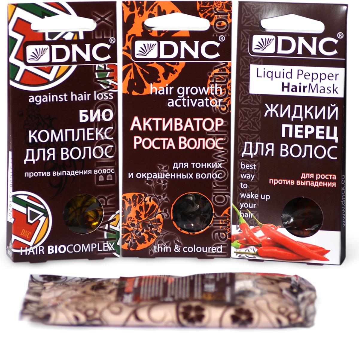 DNC-Nabor-ZHidkij-perec-dlya-volos-45-ml-Aktivator-dlya-tonkih-i-okrashennyh-volos-45-ml-Biokompleks-protiv-vypadeniya-volos-45-ml--Podarok-Krasnyj-pe