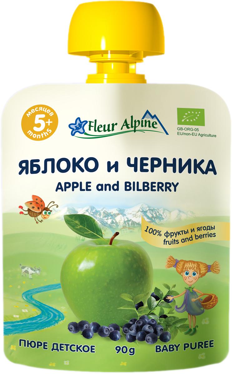 Флёр Альпин Органик пюре яблоко-черника 5 месяцев, 90 г