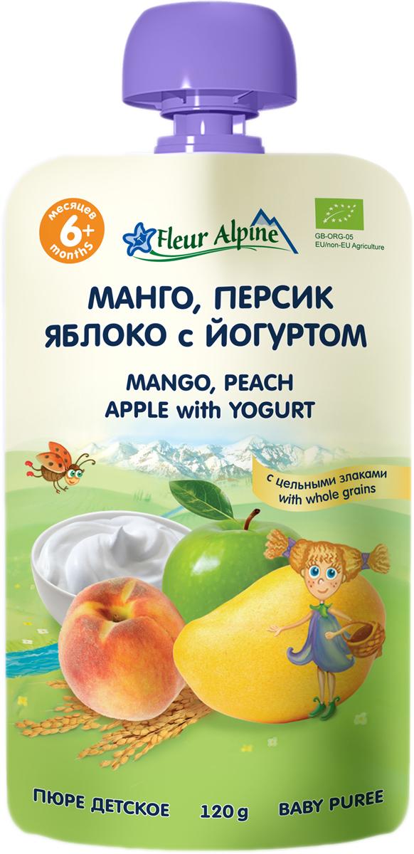 Флёр Альпин Органик пюре манго-персик-яблоко-йогурт, с 6 месяцев, 120 г
