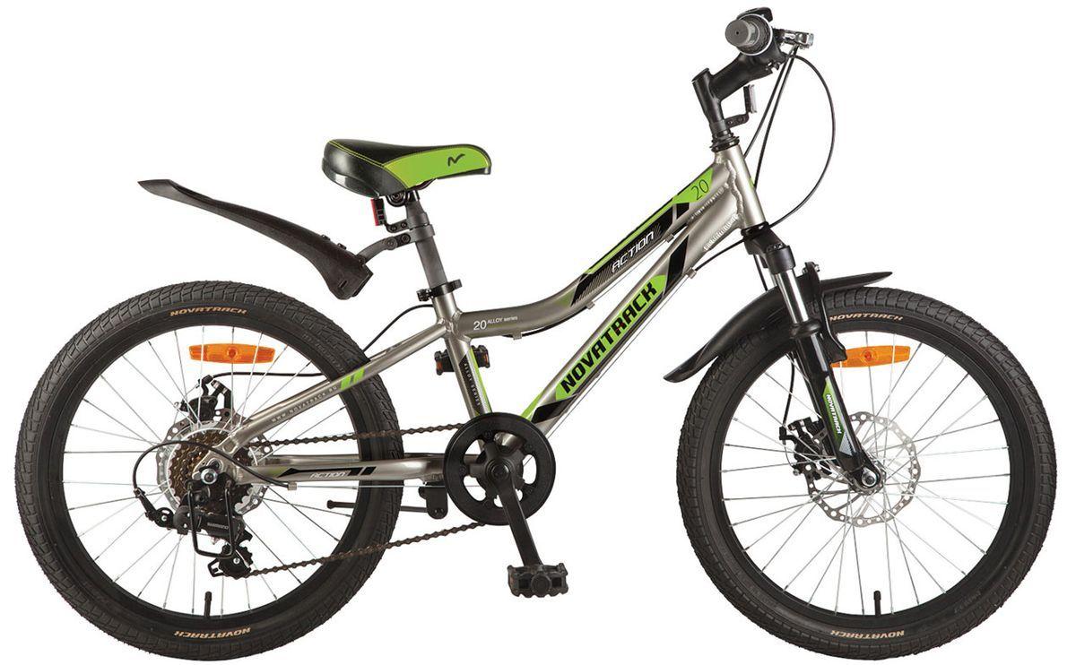 Велосипед детский Novatrack Action, цвет: серый, 20 велосипед novatrack action 20 2017
