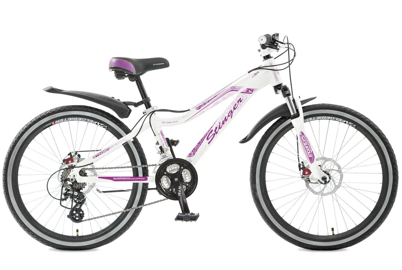 Велосипед горный Stinger Fiona, цвет: белый, 24, рама 12