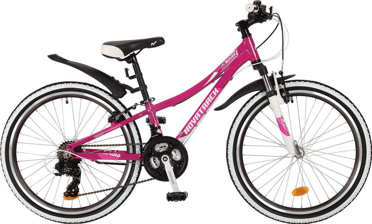 Велосипед детский Novatrack Katrina, цвет: фиолетовый, 24, рама 12 велосипед детский novatrack action цвет черный 24