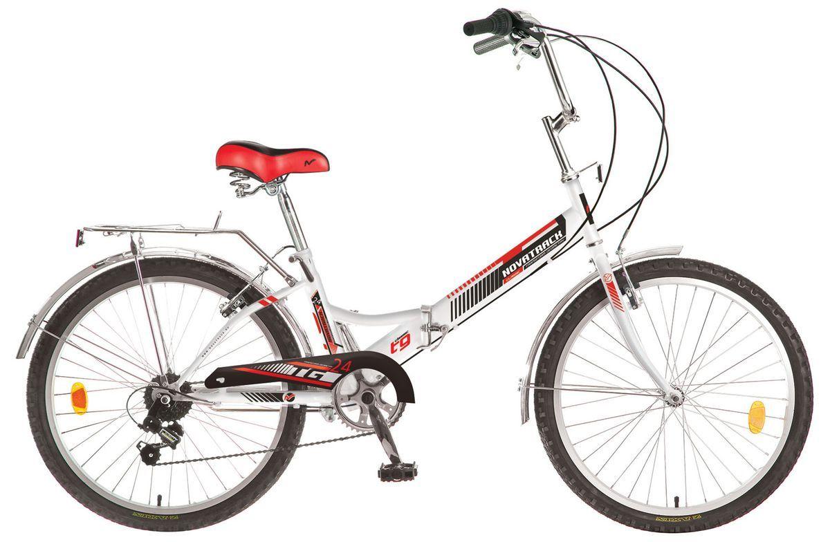 Велосипед складной Novatrack FS, цвет: белый, красный, 24 велосипед складной novatrack fs цвет черный 24