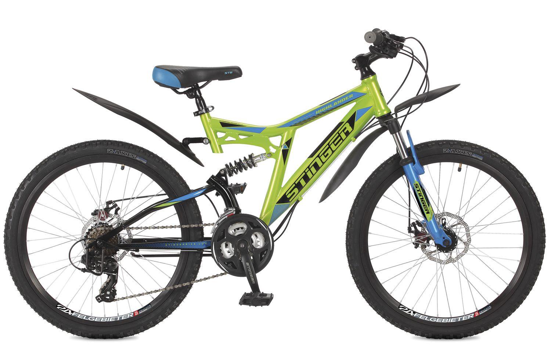 Велосипед горный Stinger Highlander 200D, цвет: зеленый, 24 велосипед stinger 24 highlander 200v 16 5 белый