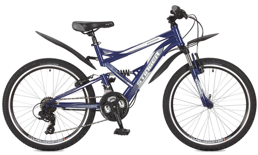 Велосипед горный Stinger Versus, цвет: синий, 24, рама 16,5 велосипед горный stinger versus d цвет синий 26 рама 20