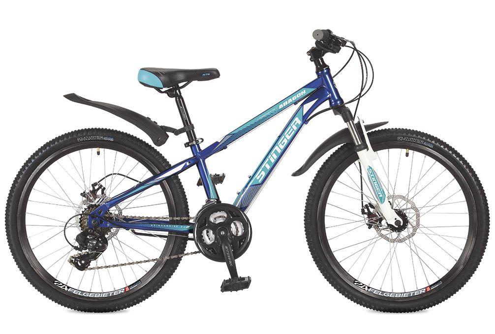 Велосипед горный Stinger Aragon, цвет: синий, 24, рама 12,5