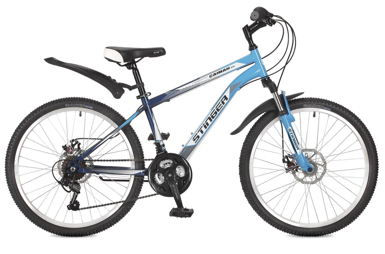 Велосипед горный Stinger Caiman D, цвет: синий, 24, рама 14
