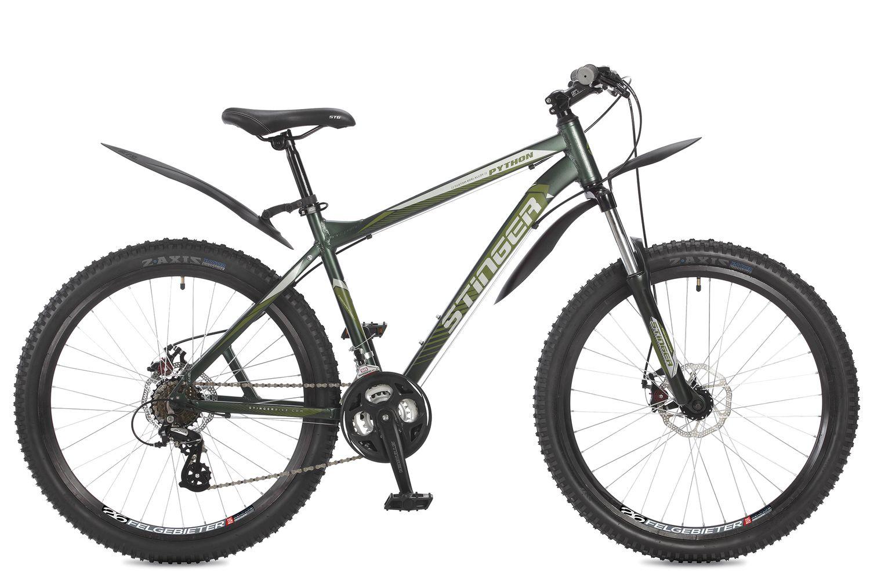 Велосипед горный Stinger Python, цвет: зеленый, 26, рама 18 велосипед stinger 26 ahd python 18 gn7 26 python 18 зеленый
