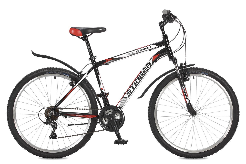 Велосипед горный Stinger Element, цвет: черный, 26, рама 20 велосипед горный stinger versus d цвет синий 26 рама 20