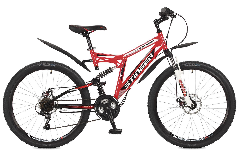 Велосипед горный Stinger Highlander 100D, цвет: красный, 26, рама 16