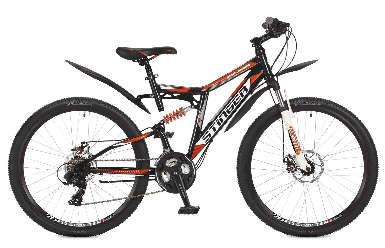 Велосипед горный Stinger Highlander 200D, цвет: черный, 26, рама 16 велосипед горный stinger highlander цвет зеленый 24 рама 14