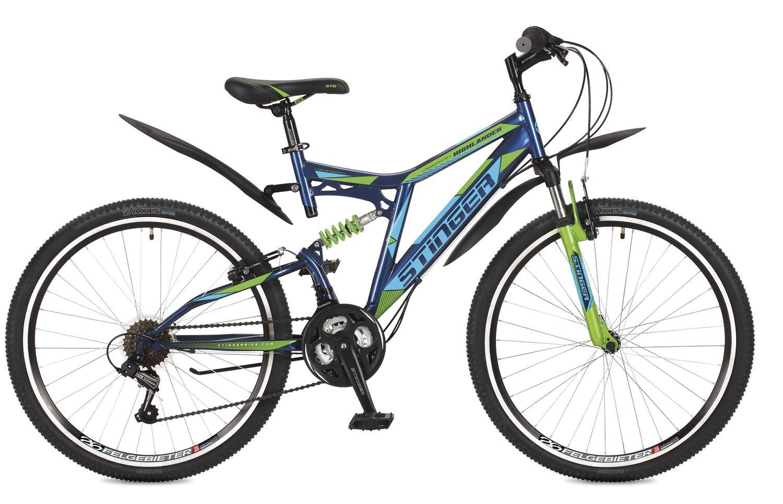 Велосипед горный Stinger Highlander 100V, цвет: синий, 26, рама 16 велосипед горный stinger versus d цвет синий 26 рама 20