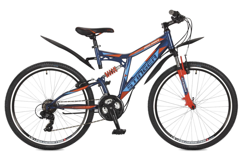 Велосипед горный Stinger Highlander 200V, цвет: синий, 26, рама 16 велосипед горный stinger highlander цвет зеленый 24 рама 14