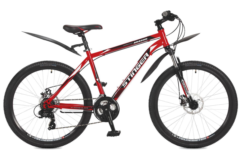 Велосипед горный Stinger Aragon, цвет: красный, 26, рама 20 велосипед stinger 26 aragon 18 белый 26 shd aragon 18 wh7