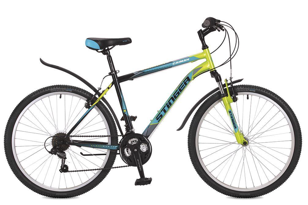 "Велосипед горный Stinger ""Caiman"", цвет: зеленый, 26"", рама 16"""