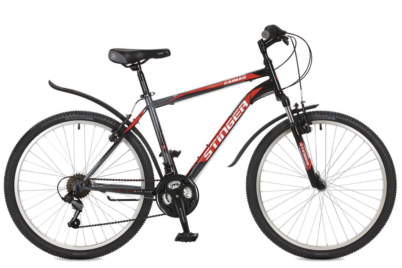 """Велосипед горный Stinger """"Caiman"""", цвет: черный, 26"""", рама 18"""""""