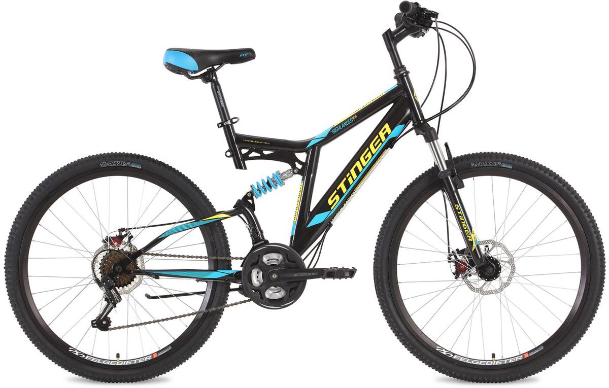 Велосипед горный Stinger Highlander D, цвет: черный, 26, рама 16