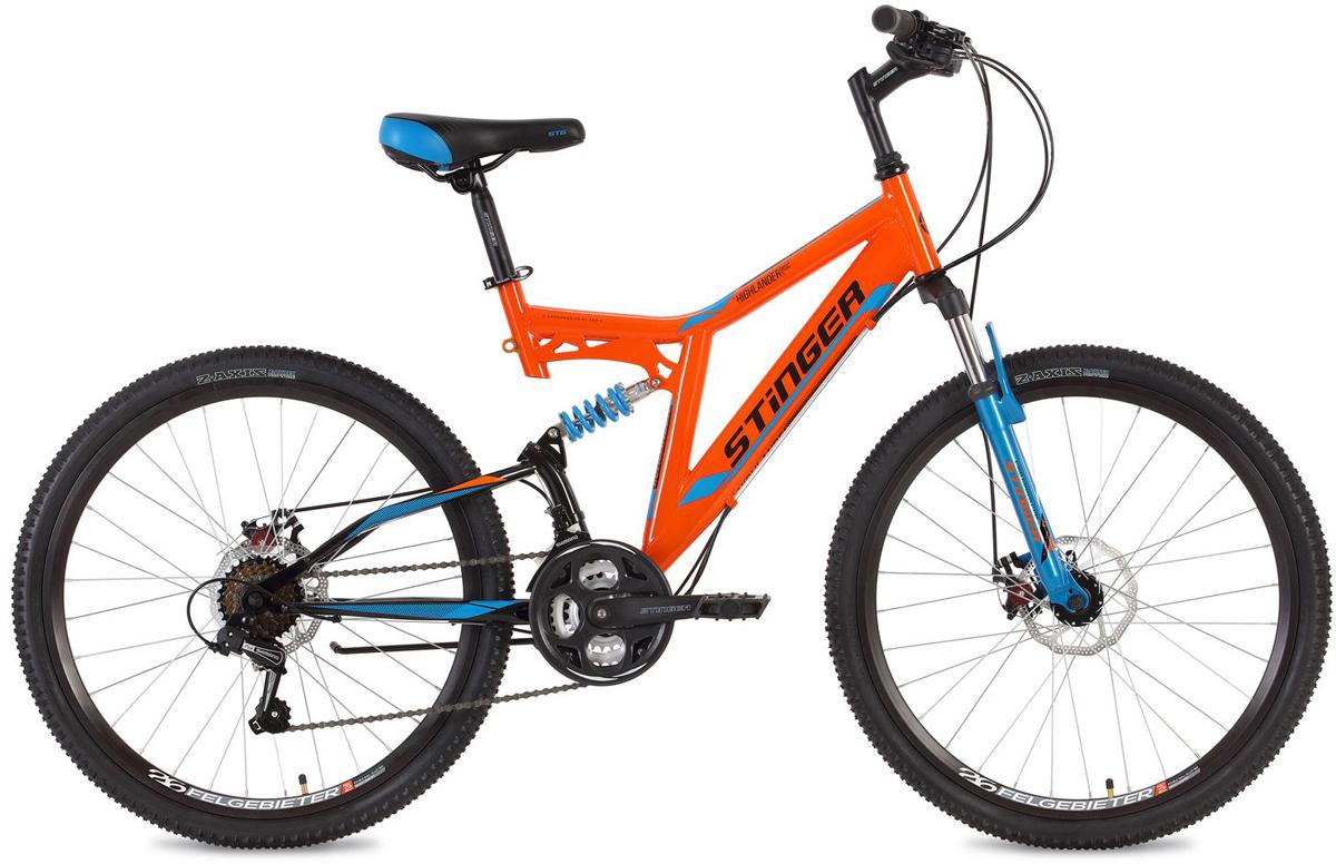 Велосипед горный Stinger Highlander D, цвет: оранжевый, 26, рама 16 велосипед горный stinger highlander цвет зеленый 24 рама 14
