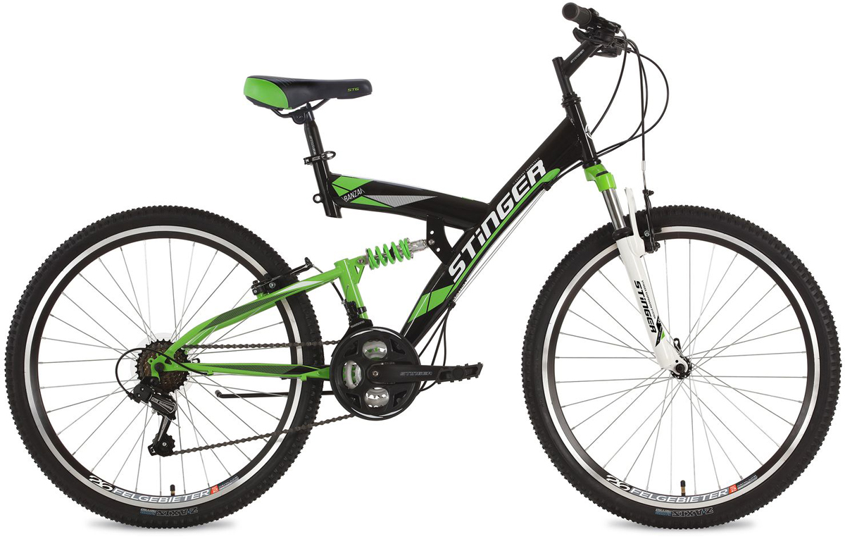 Велосипед горный Stinger Banzai, цвет: черный, 26, рама 16 вилка амортизационная suntour гидравлическая для велосипедов 26 ход 100 120мм sf14 xcr32 rl 26