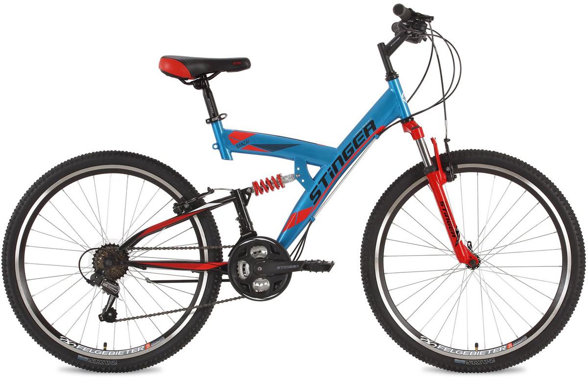 Велосипед горный Stinger Banzai, цвет: синий, 26, рама 16 вилка амортизационная suntour гидравлическая для велосипедов 26 ход 100 120мм sf14 xcr32 rl 26
