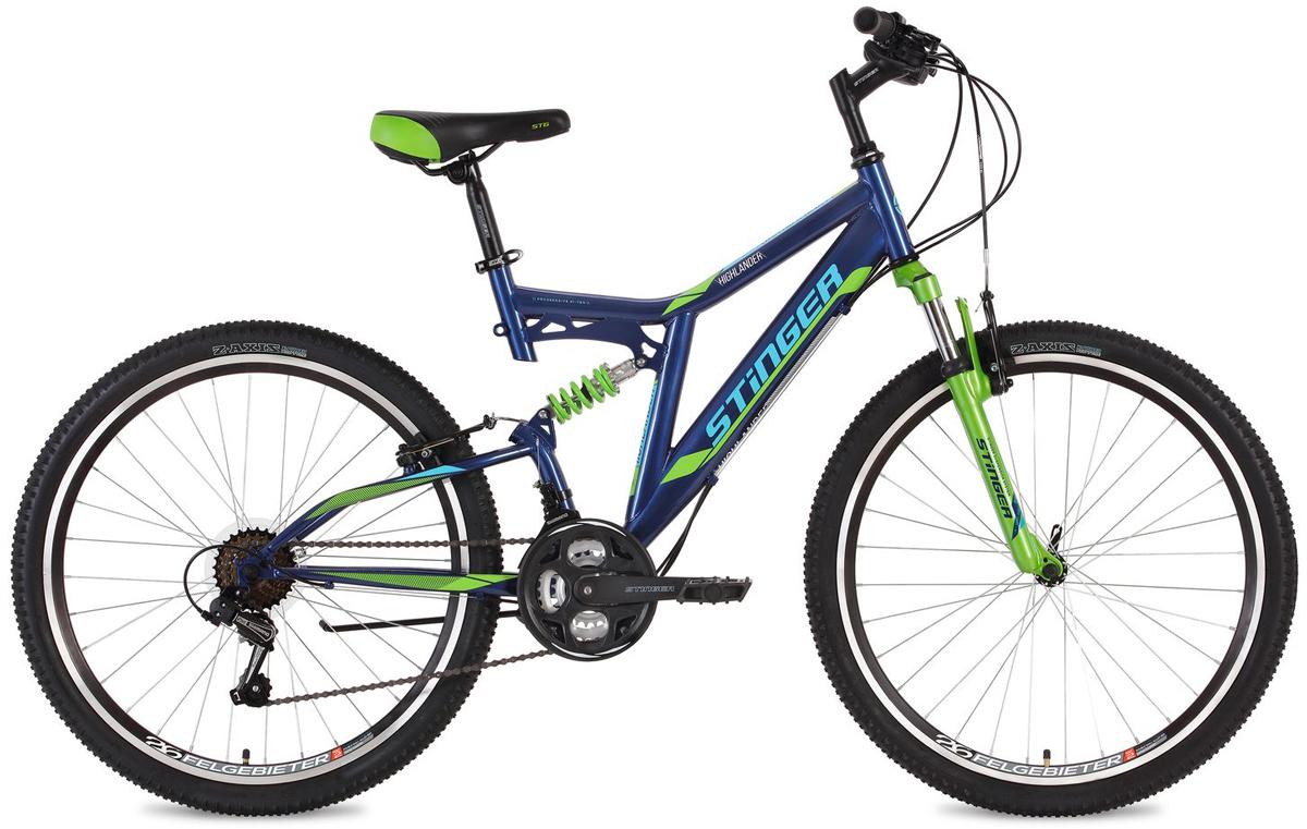 Велосипед горный Stinger Highlander, цвет: синий, 26, рама 16