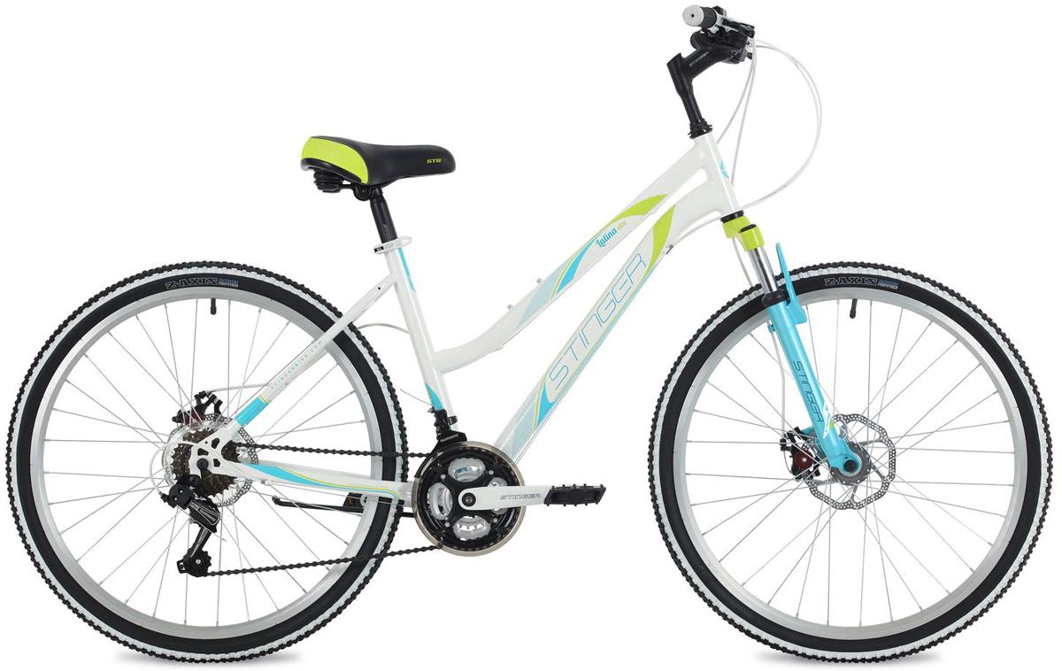 Велосипед горный Stinger Latina D, цвет: белый, 26, рама 1526SHD.LATINAD.15WH8Stinger Latina D - это женский велосипед с удобной посадкой, который очень легок в управлении. Его отличает простота в обслуживании, надежность и хорошая маневренность. Навесное оборудование от мирового лидера Shimano обеспечит точное и плавное переключение скоростей в любых условиях. Конструкция рамы с амортизационной вилкой специально разработана для любительниц коротких или длинных поездок. Рекомендуем!
