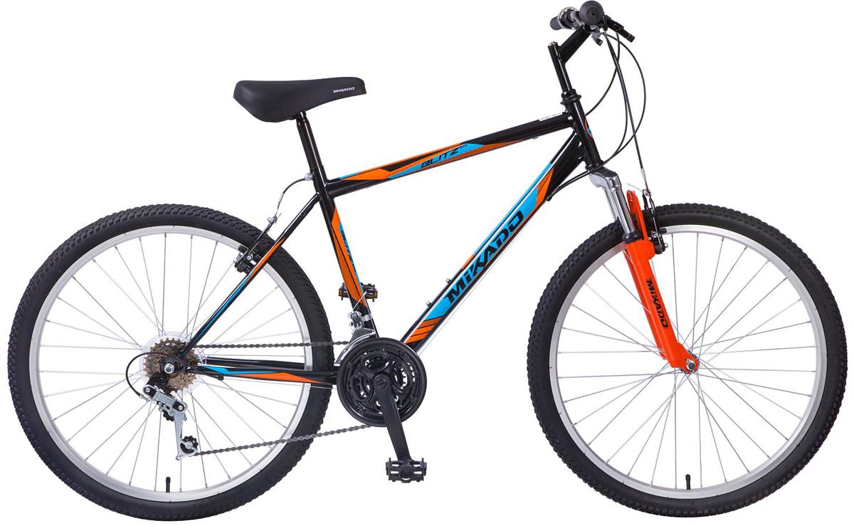 """Велосипед горный Mikado """"Blitz Evo"""", цвет: черный, оранжевый, 26"""""""