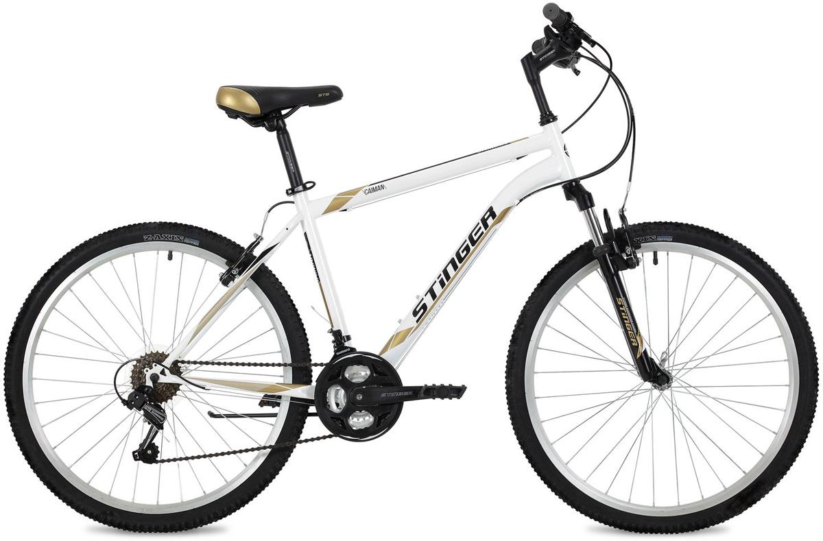 "Велосипед горный Stinger ""Caiman"", цвет: белый, 26"", рама 16"""
