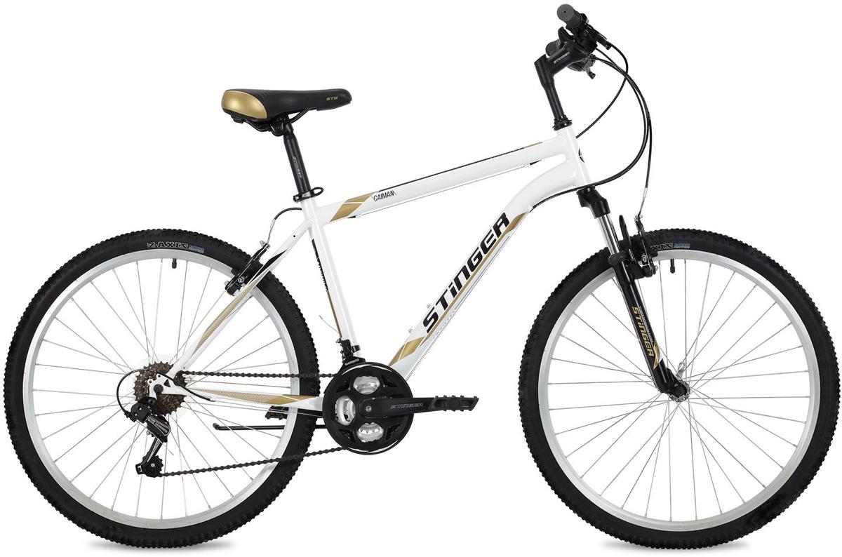 "Велосипед горный Stinger ""Caiman"", цвет: белый, 26"", рама 18"""