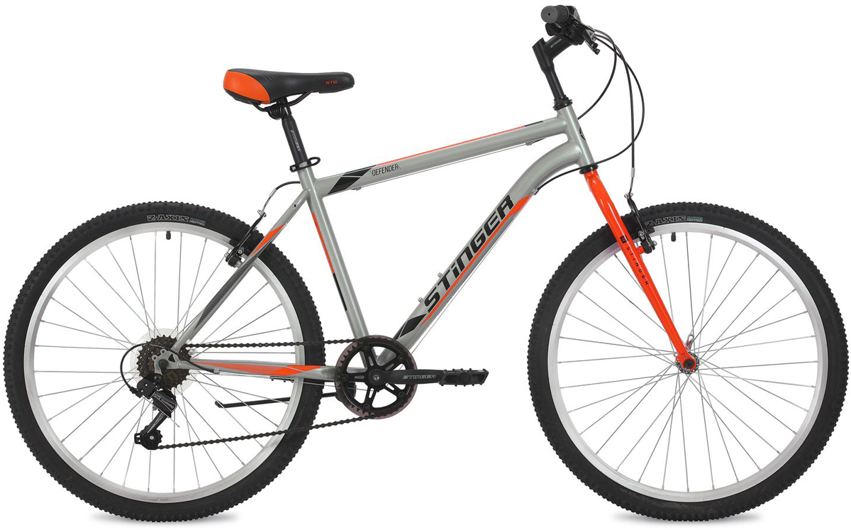 Велосипед горный Stinger Defender, цвет: серый, 26, рама 16 велосипед stinger 24 defender 12 5 серый 24 shv defend 12 gr8