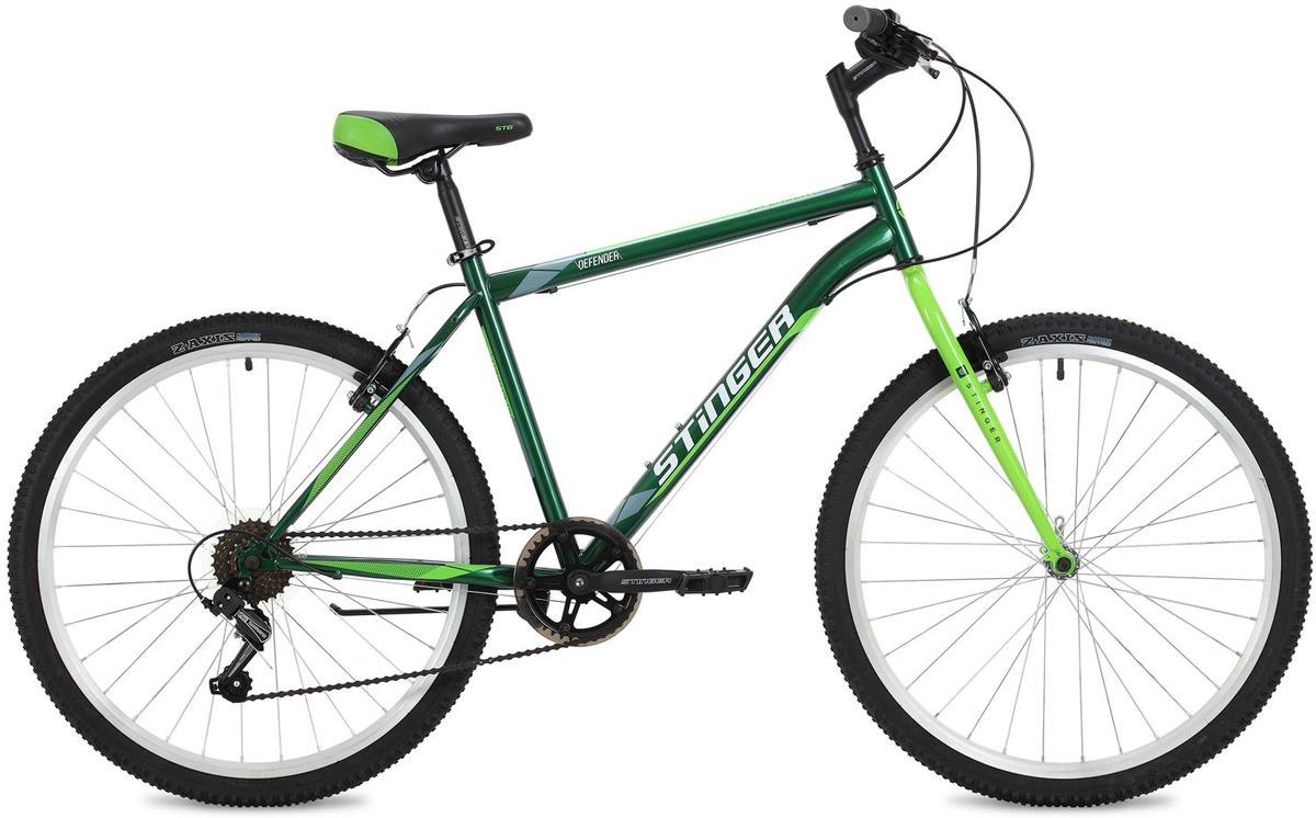 Велосипед горный Stinger Defender, цвет: зеленый, 26, рама 18 велосипед горный stinger highlander цвет зеленый 24 рама 14