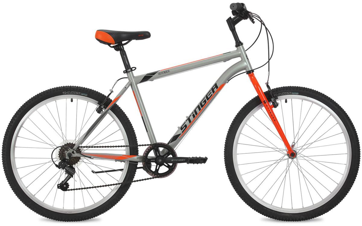 Велосипед горный Stinger Defender, цвет: серый, 26, рама 20 велосипед stinger 24 defender 12 5 серый 24 shv defend 12 gr8