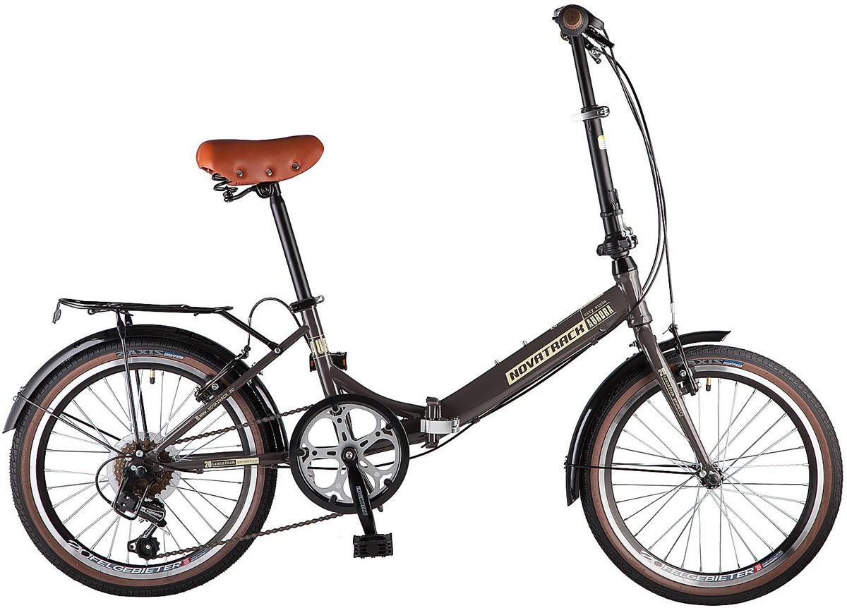 цена на Велосипед складной Novatrack Aurora, цвет: коричневый, 20