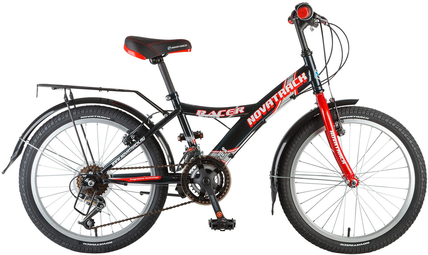 Велосипед детский Novatrack Racer, цвет: черный, 20