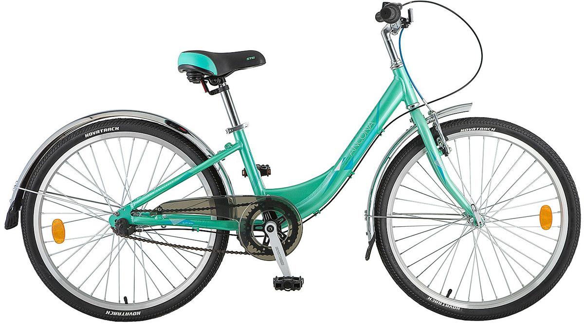 Велосипед детский Novatrack Ancona, цвет: зеленый, 24