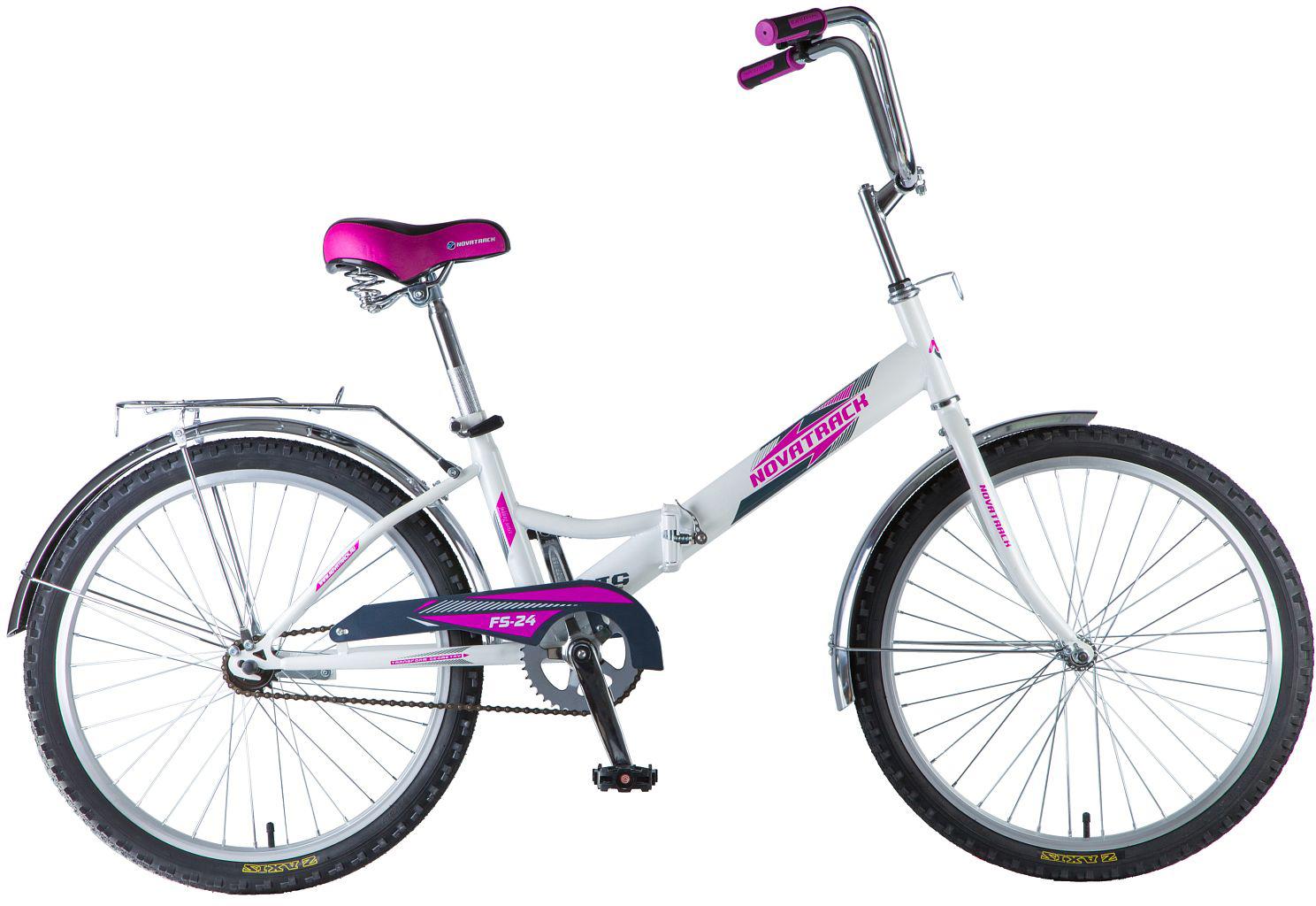 Велосипед складной Novatrack FS, цвет: белый, 24 велосипед детский novatrack fs 30 цвет светло сиреневый белый черный 20
